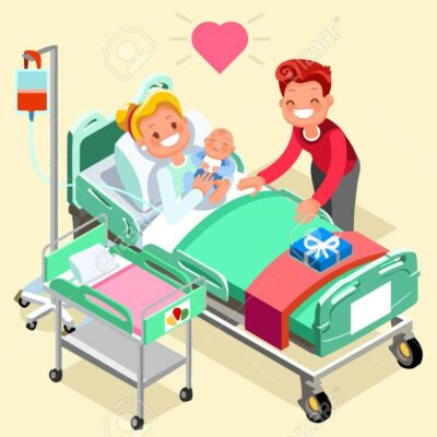 Pregnancy and birth cartoon vector illustration. Pregnant mother young girl in hospital bed with newborn baby new mom with child. Maternity and medical infographic isometric people design